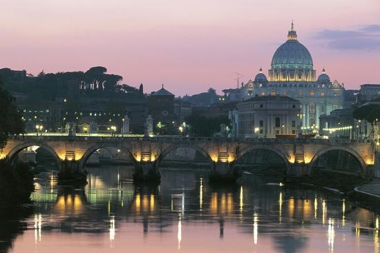 Night View of Dome of St Peter's Basilica--Photographic Print