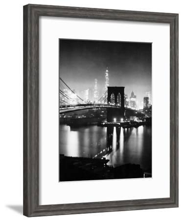 Night View of Nyc and the Brooklyn Bridge-Andreas Feininger-Framed Premium Photographic Print