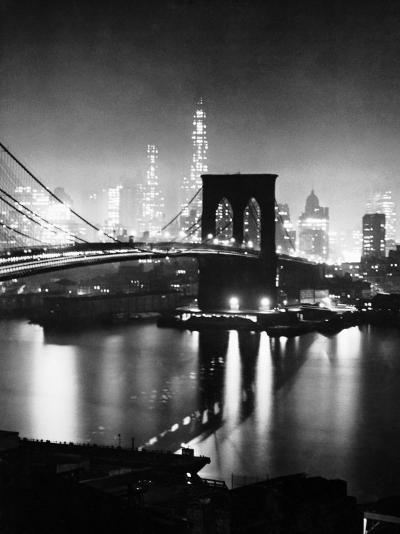 Night View of Nyc and the Brooklyn Bridge-Andreas Feininger-Photographic Print
