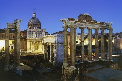 Night View of Roman Forum, Rome, Lazio, Italy--Photographic Print
