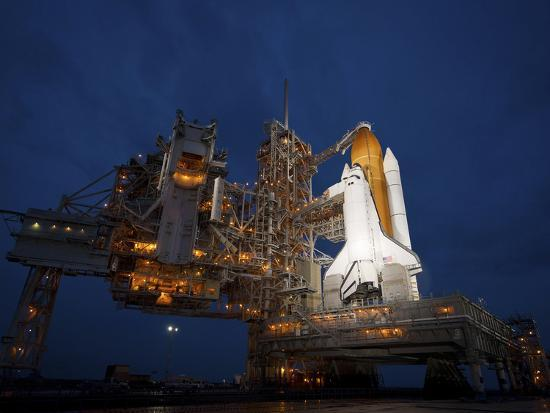 Night View of Space Shuttle Atlantis on the Launch Pad at Kennedy Space Center, Florida-Stocktrek Images-Photographic Print