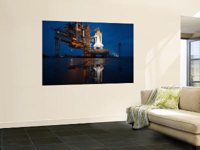 Night View of Space Shuttle Atlantis on the Launch Pad at Kennedy Space Center, Florida-Stocktrek Images-Wall Mural