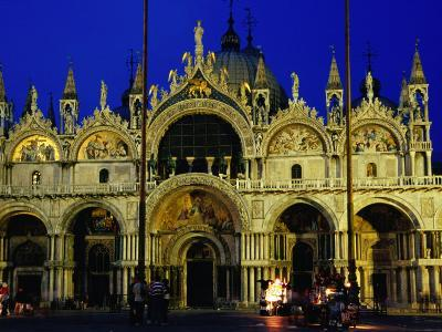 Night View of the Basilica Di San Marco, Venice, Veneto, Italy-Glenn Beanland-Photographic Print