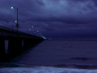 Night View of the Chesapeake Bay Bridge-Tunnel-Medford Taylor-Photographic Print