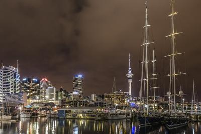 Night View of the City of Auckland from Auckland Harbour, North Island, New Zealand, Pacific-Michael Nolan-Photographic Print