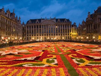 Night View of the Grand Place with Flower Carpet and Ornate Buildings, Brussels, Belgium-Bill Bachmann-Photographic Print