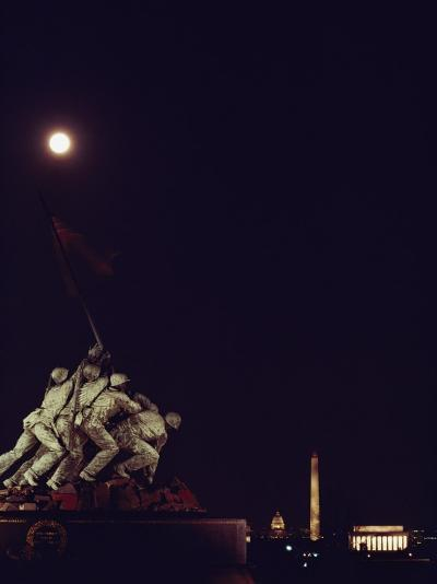 Night View of the Iwo Jima Monument under a Full Moon-Kenneth Garrett-Photographic Print