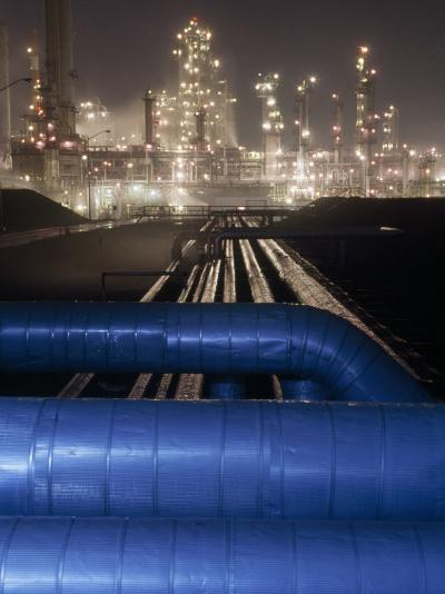 Night View of the Lights of an Oil Refinery-Michael Melford-Photographic Print