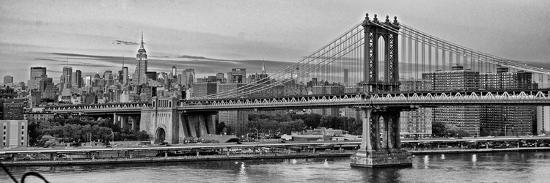 Night View of the Manhattan Bridge, the Empire State Building and the East River-Kike Calvo-Photographic Print