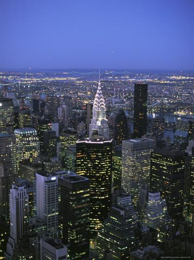 Night View of the Manhattan Skyline From the Empire State Building-Todd Gipstein-Photographic Print