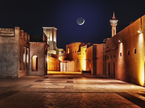 Night View of the Streets of the Old Arab City Dubai UAE- Laborant-Photographic Print