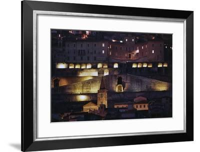 Night View of the Temple of Fortuna Primigenia, 2nd Century Bc, Palestrina, Lazio, Italy--Framed Photographic Print