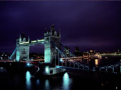 Night View of Tower Bridge, Which Spans the Thames River-Richard Nowitz-Photographic Print