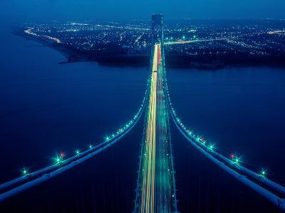 Night view of Verrazano-Narrows Bridge, New York City, New York State, USA--Photographic Print