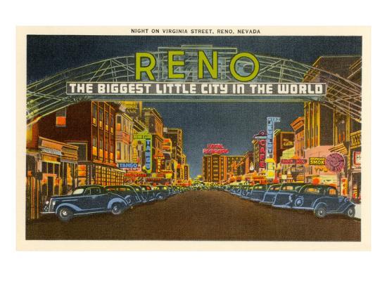 Night, Virginia Street, Reno, Nevada--Art Print