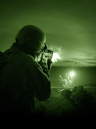 Night Vision View of a Special Operations Forces Soldier Firing His Weapon During Combat-Stocktrek Images-Photographic Print