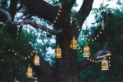Night Wedding Ceremony with a Lot of Candles and Vintage Lamps on Big Tree-Breslavtsev Oleg-Photographic Print