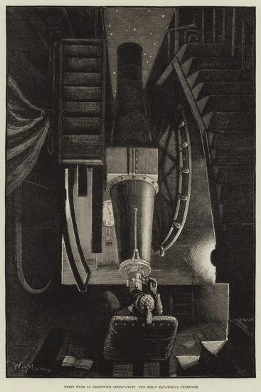 Night Work at Greenwich Observatory, the Great Equatorial Telescope-William Bazett Murray-Giclee Print