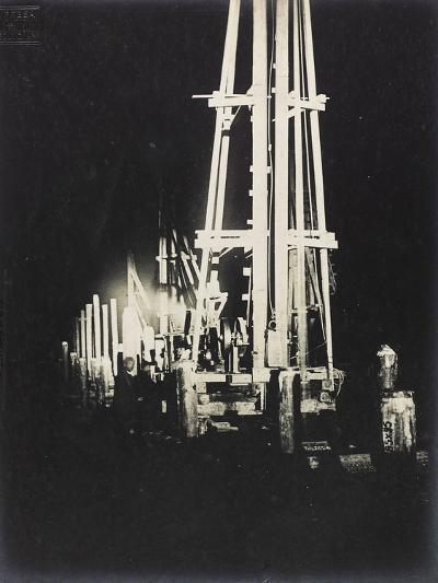Night Work with Reflectors During the Construction of a Wooden Bridge for a Temporary Detour--Photographic Print