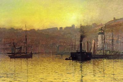 Nightfall in Scarborough Harbour, 1884-John Atkinson Grimshaw-Giclee Print