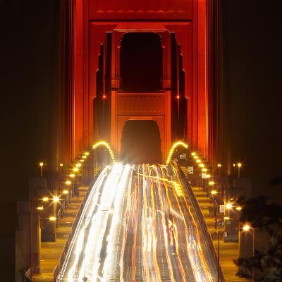 Nightime Traffic on the Golden Gate Bridge, San Francisco, California, USA-Patrick Smith-Photographic Print