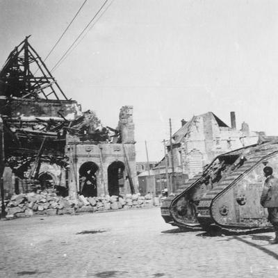 British Tank in Front of Ruined Buildings, Peronne, France, World War I, C1916-C1918