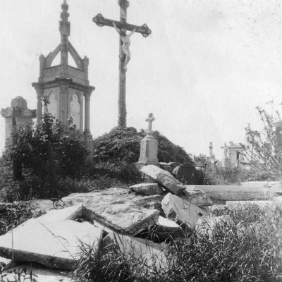 Damaged Graves, Old Communal Cemetery, Ypres, Belgium, World War I, C1914-C1918
