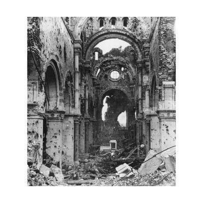 Damaged Interior of Albert Cathedral, France, World War I, C1914-C1918