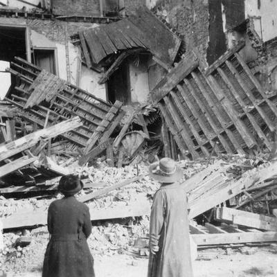 House Destroyed by a Bomb, Armentières, France, World War I, C1914-C1918