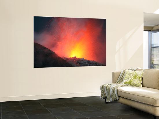 Nighttime Eruption of Santiaguito Dome Complex, Santa Maria Volcano, Guatemala-Stocktrek Images-Wall Mural