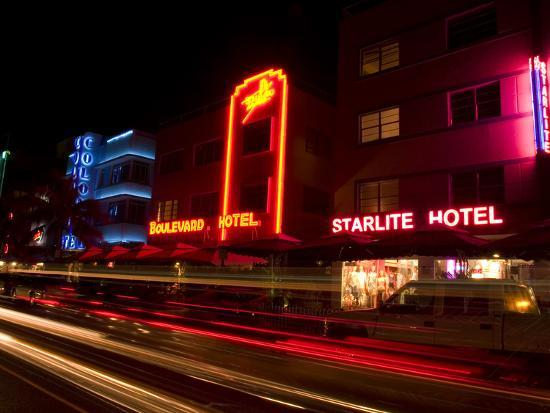 Nighttime Traffic on Ocean Drive, Art Deco Hotels, South Beach, Miami, Florida, USA-Nancy & Steve Ross-Photographic Print