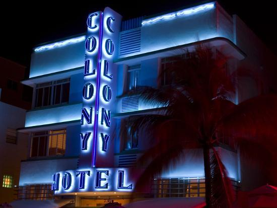 Nighttime View Of Art Deco Colony Hotel South Beach Miami Florida Usa Photographic Print By Nancy Steve Ross