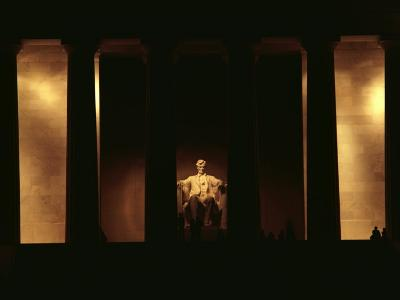 Nighttime View of the Illuminated Lincoln Memorial--Photographic Print