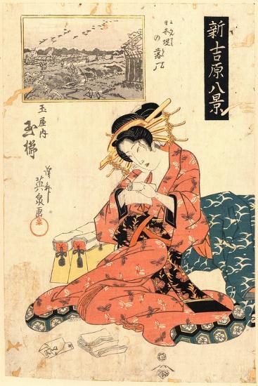 Nihonzutsumi No Rakugan Tamaya Uchi Tamagushi-Keisai Eisen-Giclee Print
