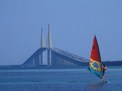 Sunshine Skyway and Windsurfer, Tampa Bay, Florida, USA