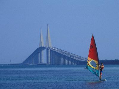 Sunshine Skyway and Windsurfer, Tampa Bay, Florida, USA