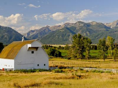 Wallowa Mountains and White Barn in Field Near Joseph, Wallowa County, Oregon, USA
