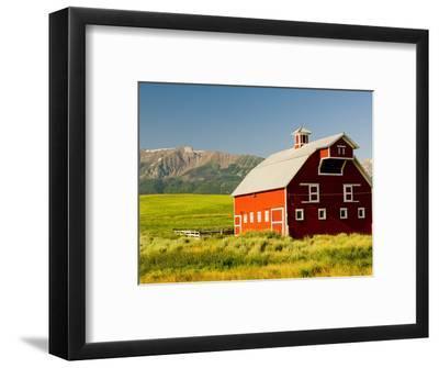 Wallowa Mountains and White Barn in Field Near Joseph, Wallowa County, Oregon, USA