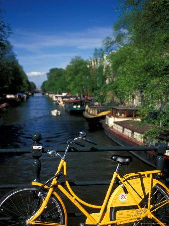 Yellow Bicycle and Canal, Amsterdam, Netherlands