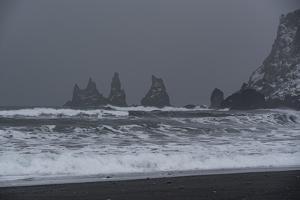 Mood of Reynisdrangar Rock in Fog in Iceland by Niki Haselwanter
