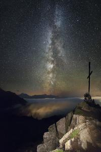 Summit Cross with the Milky Way in the Background by Niki Haselwanter
