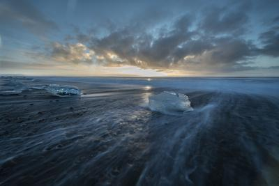 Sunrise at Diamond Beach in Iceland with Ice Blocks