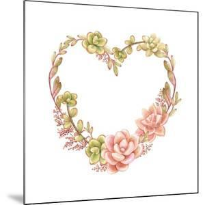Holiday Wreath of Watercolor Succulents in the Form of Heart, Vector Illustration in Vintage Style. by Nikiparonak