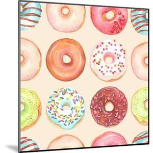 Seamless Background of Watercolor Colorful Donuts Glazed. by Nikiparonak