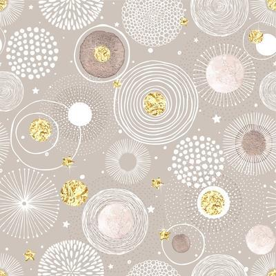 Seamless Christmas Background with Doodle Circles Randomly Distributed, Golden Foil Circles, Waterc
