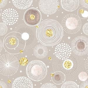 Seamless Christmas Background with Doodle Circles Randomly Distributed, Golden Foil Circles, Waterc by Nikiparonak