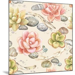 Seamless Pattern of Watercolor Succulents, Dry Branches and Stones, Vector Illustration on Beige Ba by Nikiparonak