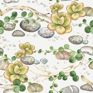 Seamless Pattern of Watercolor Succulents String of Pearls, with Small Plants Succulents, Dry Branc by Nikiparonak