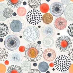 Seamless Pattern with Doodle Circles Randomly Distributed, Vector Abstraction Illustration. by Nikiparonak