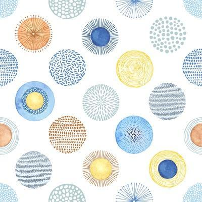 Seamless Summer Pattern with Hand-Drawn and Watercolor Circles Texture, Abstraction Colorful Illust